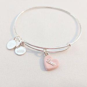 Alex and Ani Silver Pink Love Heart Bracelet